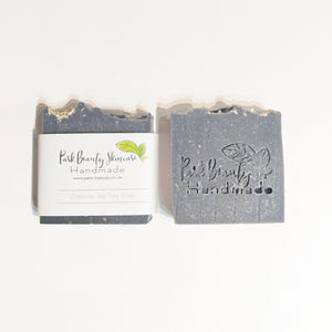 Park Beauty Charcoal and Tea Tree Soaps one with and one without paper label