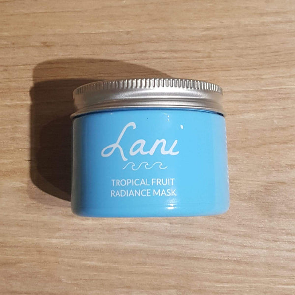 Lani Fruit Radiance Face Mask in turquoise glass jar