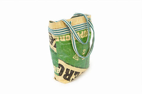 Upcycled cement bag - green shopping bag
