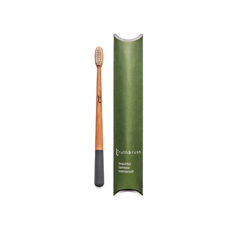 Bamboo toothbrush soft bristles grey