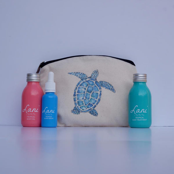 Lani Tropical Gift Set - Body oil, serum, hair treatment and turtle wash bag