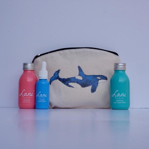 Lani Tropical Gift Set - Body oil, serum, hair treatment and orca wash bag