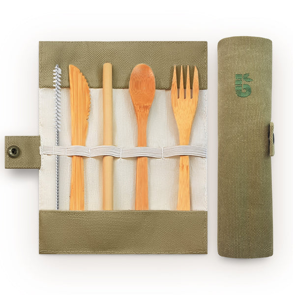 Bamboo cutlery set in cotton pouch