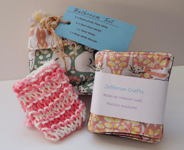 Jefferson Crafts Bathroom Sets of reusable face wipes and a soap saver - cats design