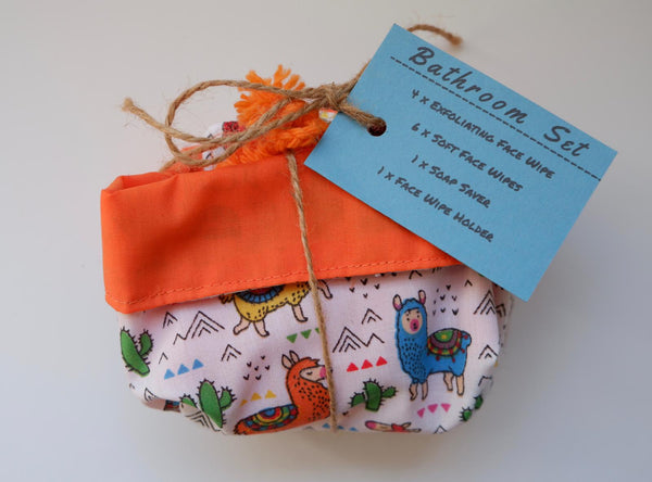 Jefferson Crafts Bathroom Sets of reusable face wipes and a soap saver - llama design
