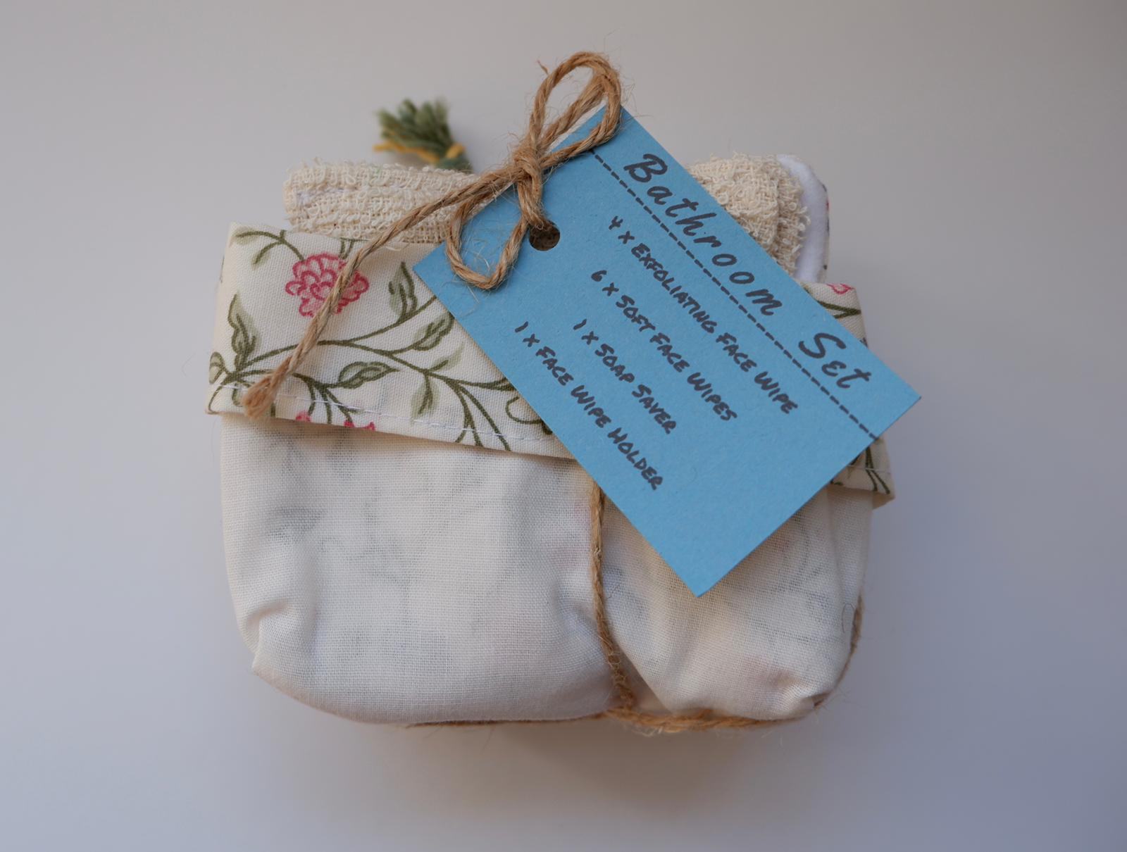 Jefferson Crafts Bathroom Sets of reusable face wipes and a soap saver - floral design