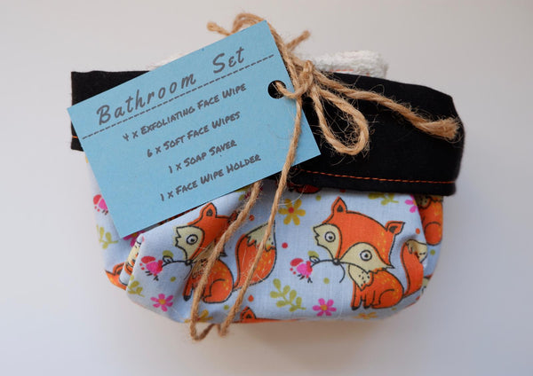 Jefferson Crafts Bathroom Sets of reusable face wipes and a soap saver - fox design