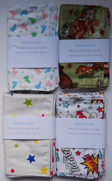 Jefferson Crafts hand made reusable Baby Wipes - various designs