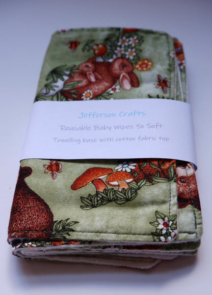 Jefferson Crafts hand made reusable Baby Wipes - animals design