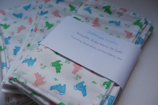 Jefferson Crafts hand made reusable Baby Wipes - bunnies design