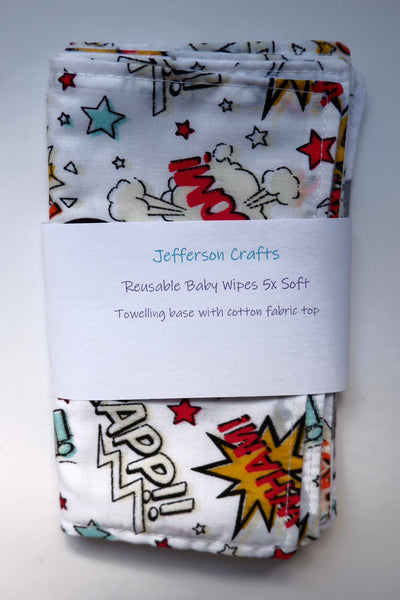 Jefferson Crafts hand made reusable Baby Wipes - pow design