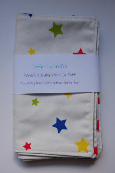 Jefferson Crafts hand made reusable Baby Wipes - stars design