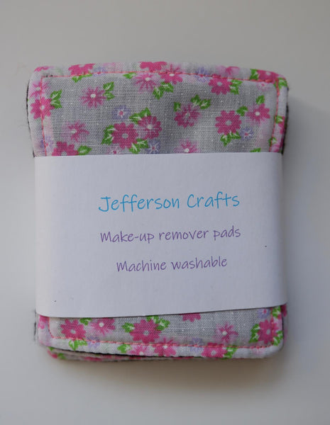 Jefferson Crafts hand made reusable Make Up Wipes - Pink floral design