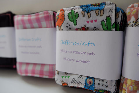 Jefferson Crafts hand made reusable Make Up Wipes - various designs