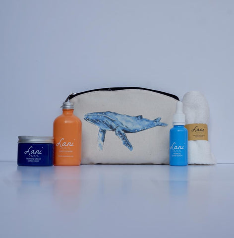 Lani Choc Orange Gift Set - cacao face mask, juice cleanser, bamboo cloth, serum and blue whale wash bag
