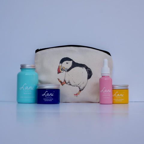 Lani Mint Choc gift set - Blue mint cleanser, cacao face mask, glow serum, coco face polish in puffin wash bag