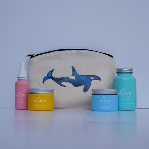 Lani Tropical Fruit Gift Set - glow serum, coco face polish, fruit face mask, mint cleanser in orca wash bag
