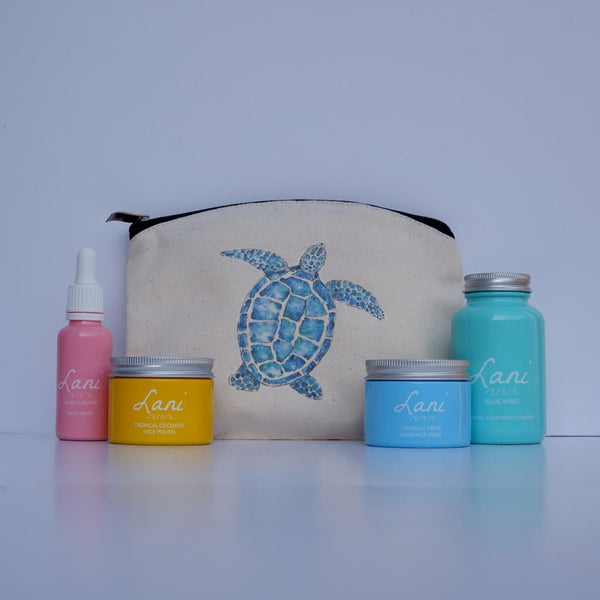 Lani Tropical Fruit Gift Set - glow serum, coco face polish, fruit face mask, mint cleanser in turtle wash bag