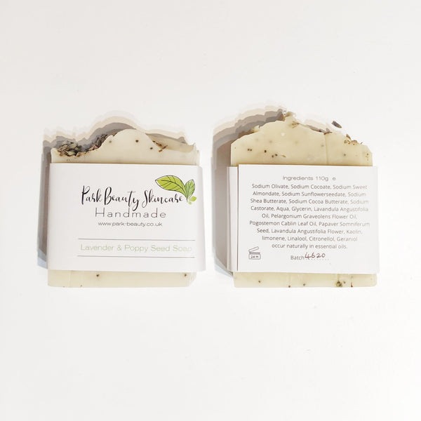 Park Beauty Lavender and Poppy seed soap showing front and back of paper label