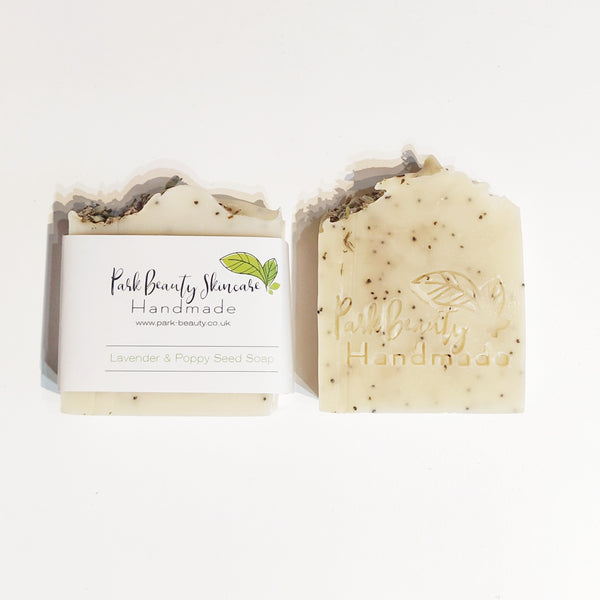 Park Beauty Lavender and Poppy seed soap one with and one without paper label