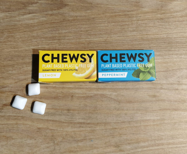 Chewsy plastic free chewing gum, lemon and peppermint, open box