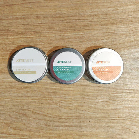 Plastic free, natural lip balms - naked, spearmint and orange