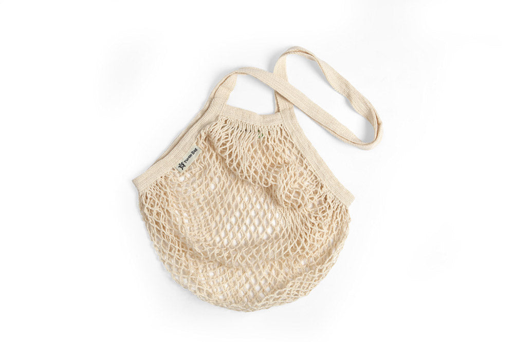 Long handled organic cotton grocery bag
