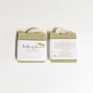 Park Beauty Loofah, Peppermint and Rosemary Soaps showing front and back of paper label