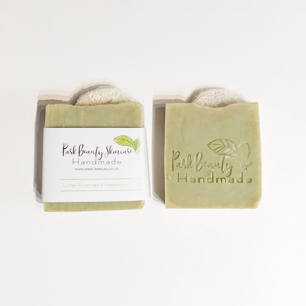 Park Beauty Loofah, Peppermint and Rosemary Soaps one with and one without the paper label