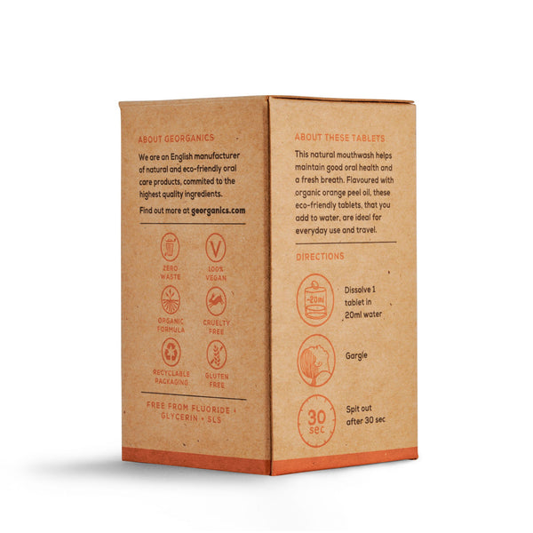 Plastic free orange mouthwash tablets - back of box