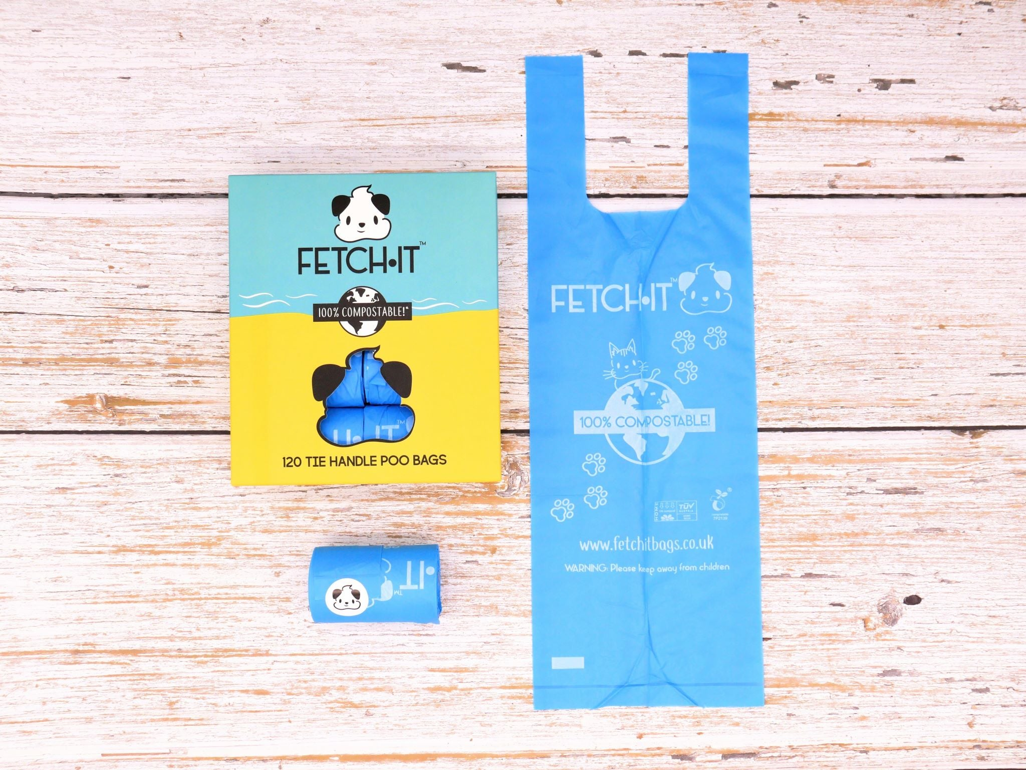 FETCH IT Home compostable large poo bags - cardboard box and bag