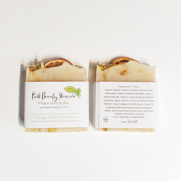 Park Beauty Orange and May Chang Soaps showing front and back of paper label