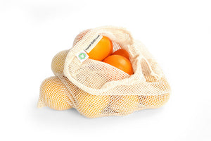 Drawstring Cotton Grocery Bag - Large - full of oranges