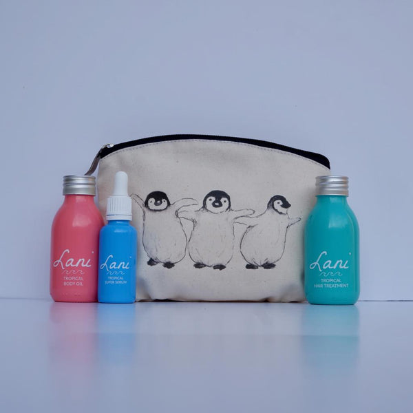 Lani Tropical Gift Set - Body oil, serum, hair treatment and penguin wash bag