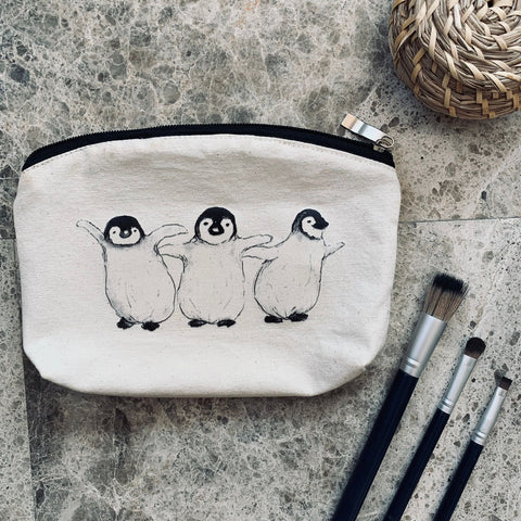 Whale Tail Art cotton wash bag - Penguins
