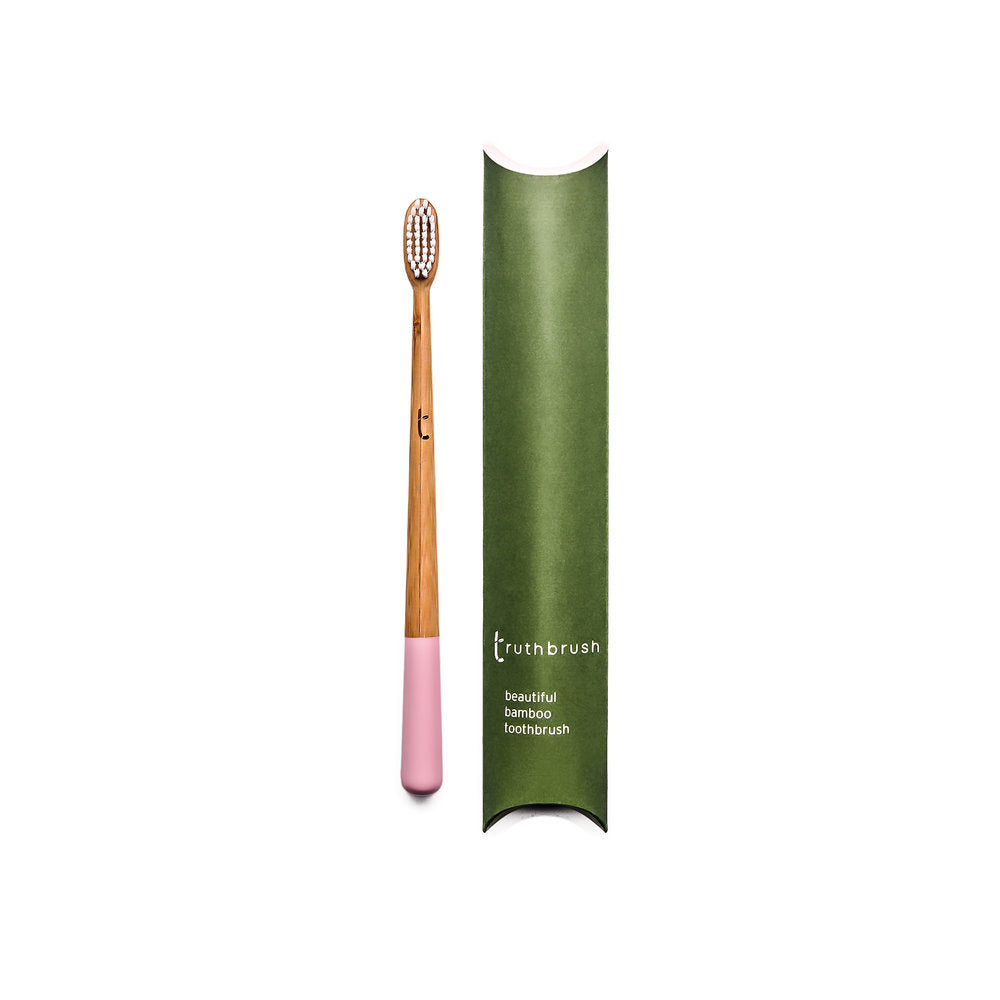 Bamboo toothbrush medium bristles pink