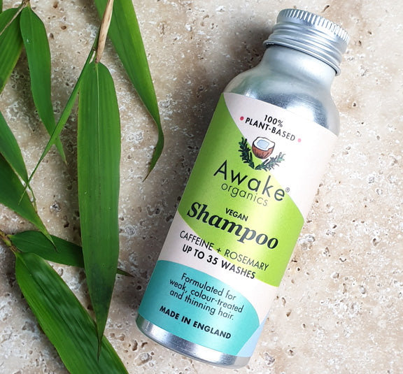 Awake Organics natural, plastic free shampoo in aluminium bottle