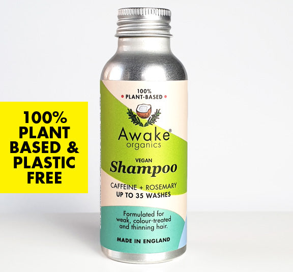 Awake Organics plant based, plastic free shampoo in aluminium bottle