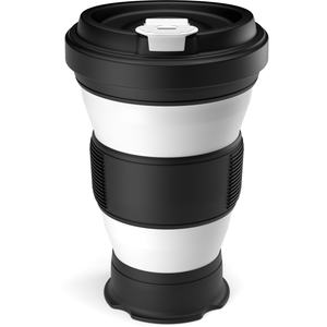 Collapsible reusable coffee cup - black