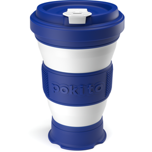 Collapsible reusable coffee cup - blue