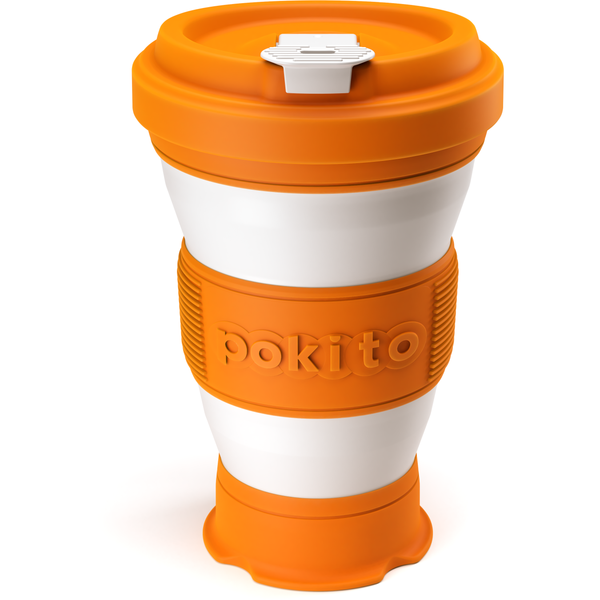 Collapsible reusable coffee cup - orange