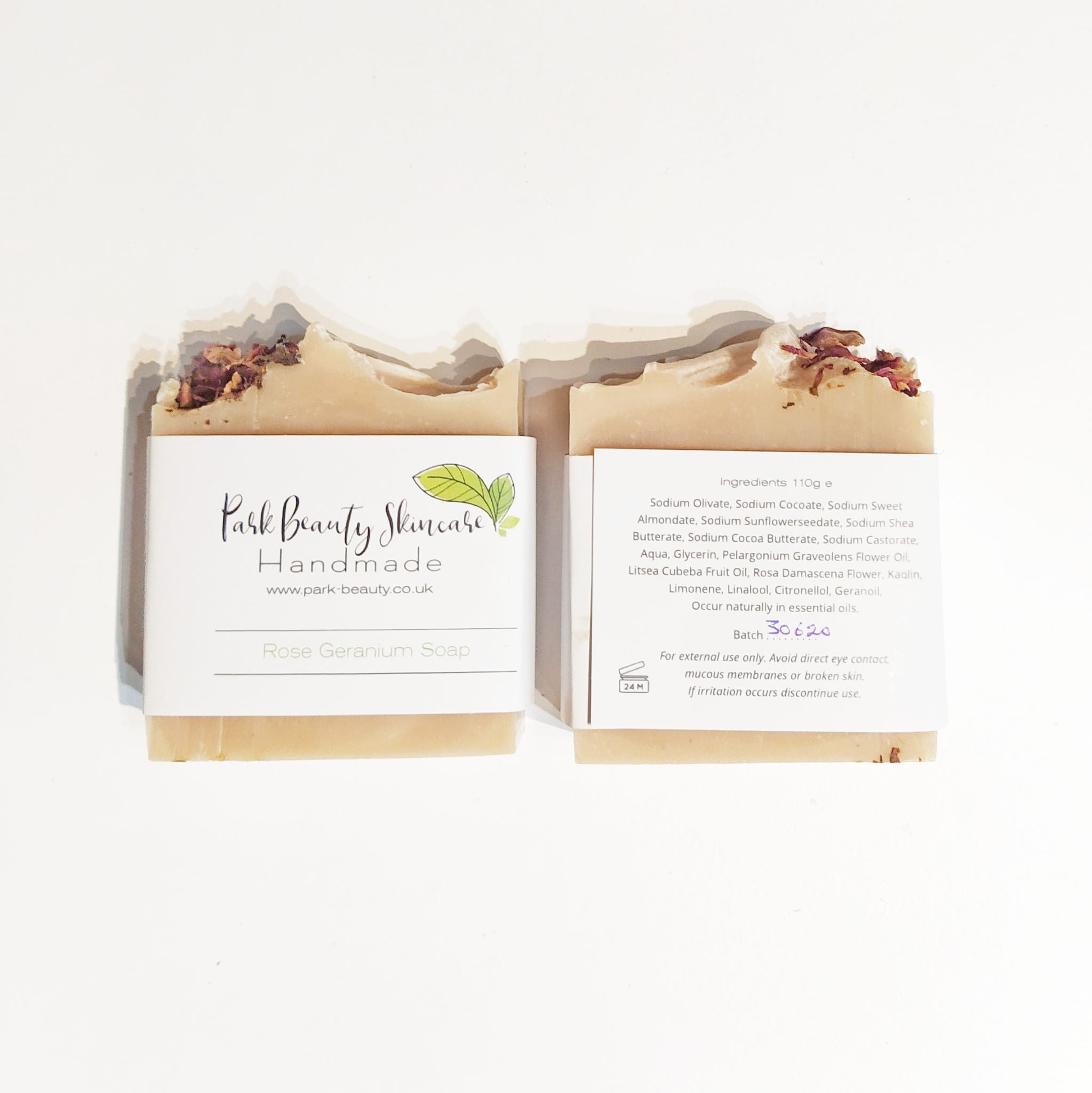 Park Beauty Rose Geranium Soaps showing front and back of paper label