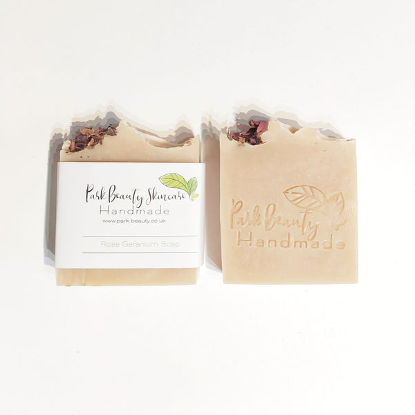 Park Beauty Rose Geranium Soaps one with and one without paper label