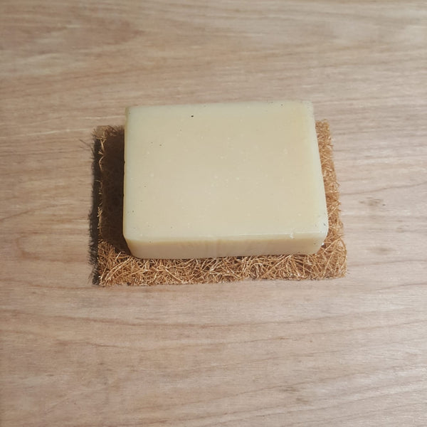 Natural Scrub pad used as soap dish