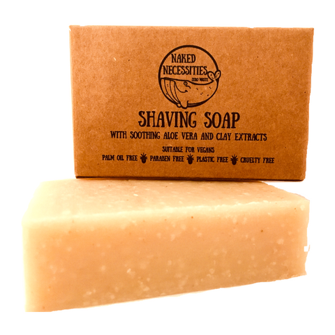 Plastic free vegan shaving soap in cardboard box
