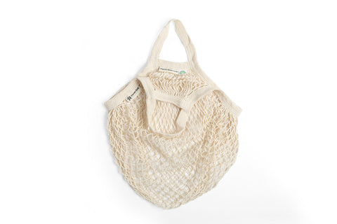 Short handled organic cotton grocery bag