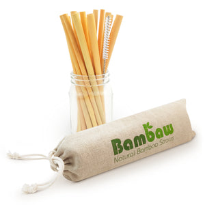 12 Bamboo straws with brush and cotton bag