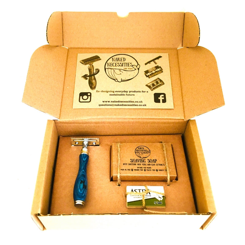 Blue plastic free shaving kit, safety razor, shaving soap and spare blades