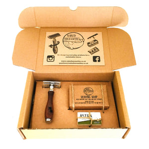 Plastic-free Shaving Kit, safety razor, shaving soap and spare blades