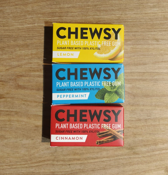 Chewsy plastic free chewing gum, lemon, peppermint and cinnamon